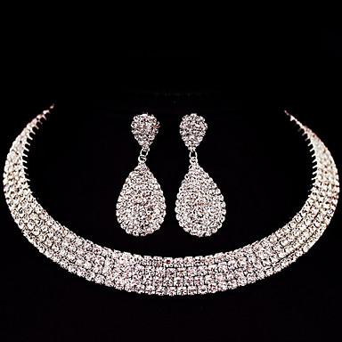Mulheres Gema Conjunto de jóias 1 Colar 1 Par de Brincos - Clássico Básico Bricolage Quadrada Conjunto de Jóias Para Presentes de Natal
