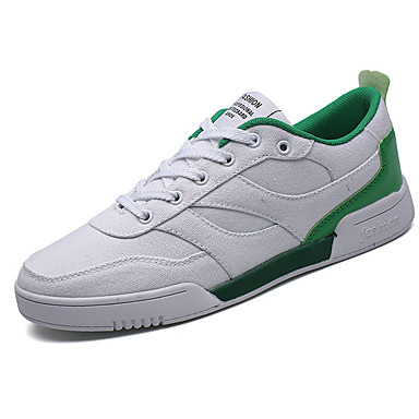 Homens sapatos Couro Ecológico Primavera Outono Tênis Caminhada Combinação para Branco Branco/Preto Branco e Verde