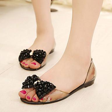 Naiset Sandaalit PVC Kesä Syksy Kävely Kristalleilla Ruseteilla Tasapohja Musta Vaaleanruskea Tasapohja