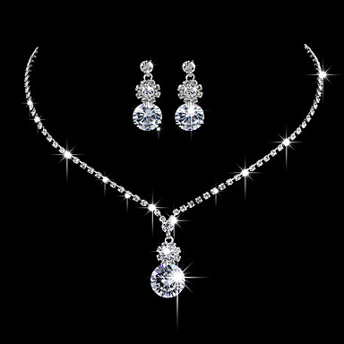 Women's AAA Cubic Zirconia Jewelry Set - Cubic Zirconia, Silver Fashion, Elegant Include Drop Earrings / Choker Necklace / Bridal Jewelry Sets Silver For Wedding / Anniversary / Party Evening