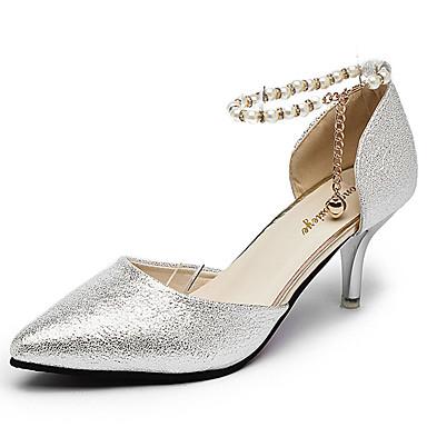 Női Cipő PU Tavasz Kényelmes Magassarkúak Tűsarok Arany / Ezüst