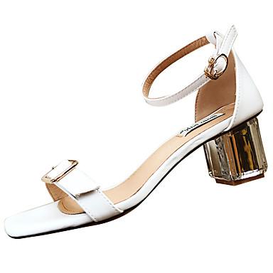 Naiset Sandaalit Comfort PU Kesä Comfort Matala korko Valkoinen Keltainen 3-3,75in