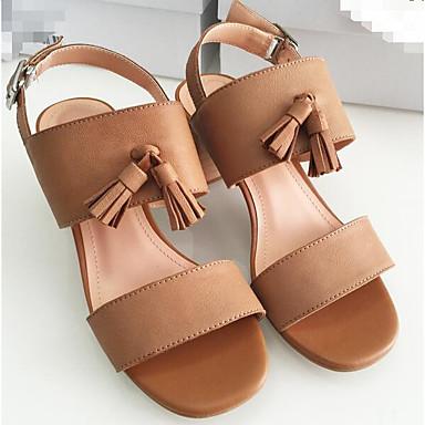 Naiset Kengät Nappanahka Nahka Kevät Comfort Sandaalit Käyttötarkoitus Kausaliteetti Beesi Tumman ruskea