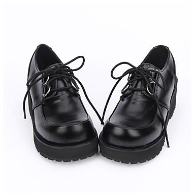 Sapatos Lolita Clássica e Tradicional Punk Confeccionada à Mão Lolita Plataforma Côr Sólida Lolita 5cm CM Preto Para PU Leather Couro PU