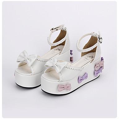 Sapatos Doce Lolita Clássica e Tradicional Confeccionada à Mão Princesa Lolita Plataforma Lolita Laço 8 CM Branco Para PU Leather Couro