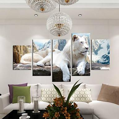 Kunstdrucke Tier Modern,Fünf Panele Horizontal Druck Wand Dekoration For Haus Dekoration