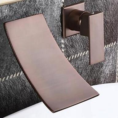 Clássica Difundido Cascata Válvula Cerâmica Duas Aberturas Monocomando Dois Buracos Bronze Polido a Óleo, Torneira pia do banheiro