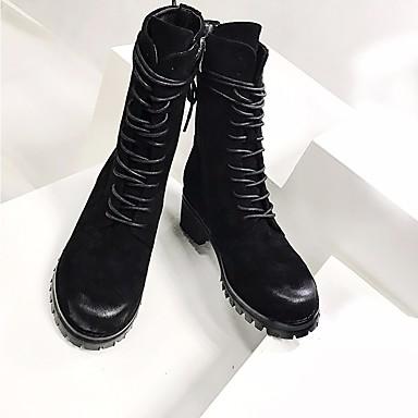 Damen Stiefel Komfort Herbst Winter Leder Normal Blockabsatz Schwarz 2,5 - 4,5 cm