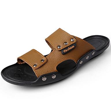 Homens sapatos Couro Ecológico Primavera Verão Conforto Sandálias Caminhada para Casual Preto Azul Khaki