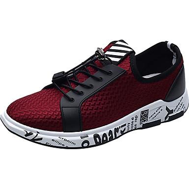 Homens sapatos Couro Ecológico Primavera Outono Conforto Tênis para Casual Preto Cinzento Vermelho