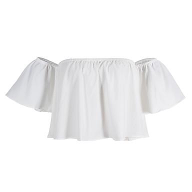 Damen Solide - Einfach Street Schick Baumwolle Bluse, Bateau Chiffon