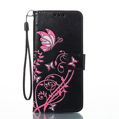 Capinha Para Samsung Galaxy S8 Plus / S8 Carteira / Porta-Cartão / Com Suporte Capa Proteção Completa Borboleta Rígida PU Leather para S8 Plus / S8 / S7 edge