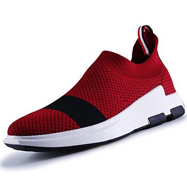 Homens sapatos Couro Ecológico Primavera Outono Tênis Cadarço para Preto Cinzento Vermelho Azul