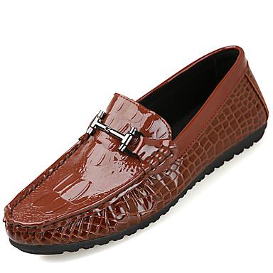 Homens sapatos Couro Ecológico Primavera Outono Mocassins e Slip-Ons Caminhada Combinação para Preto Amarelo Vinho