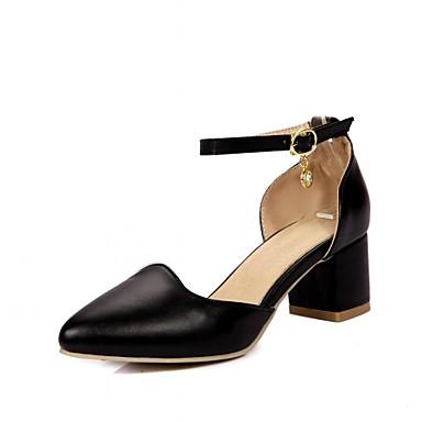Mulheres Sapatos Courino Couro Ecológico Primavera Verão Conforto Inovador Saltos Caminhada Salto Robusto Dedo Apontado Pedrarias para