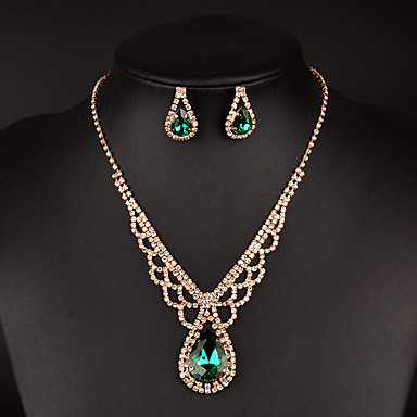 Women's AAA Cubic Zirconia Synthetic Emerald Jewelry Set - Cubic Zirconia Drop, Love Luxury, Elegant Include Drop Earrings Choker Necklace Bridal Jewelry Sets Gold For Wedding Party Anniversary