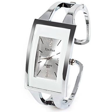billiga Kvadratiska och rektangulära klockor-Dam damer Modeklocka Unik Creative Watch Square Watch Quartz Silver Strass Diamant Imitation Ramtyp Ledigt Armring - Vit Ett år Batteriliv / SSUO LR626