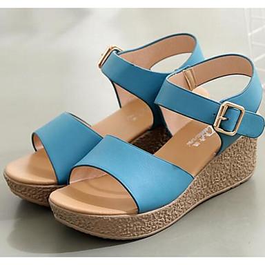 Naiset Sandaalit Comfort Kevät Mikrokuitu Päivittäin Musta Beesi Sininen Tasapohja