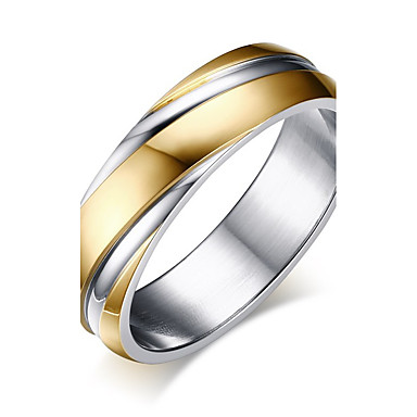 Men's Band Ring Ring - Titanium Steel, Gold Plated Vintage, Simple Style Jewelry Gold For Wedding Event / Party Engagement Daily 6 / 7 / 8 / 9 / 10