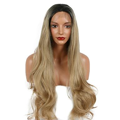 Damen Synthetische Perücken Spitzenfront Lang Wellig Blond Gefärbte Haarspitzen (Ombré Hair) Natürlicher Haaransatz Dunkler Haaransatz