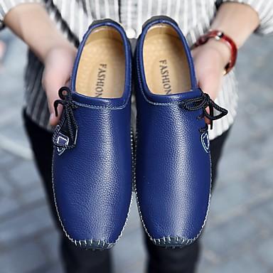 Herren Schuhe Leder Frühling Herbst Komfort Loafers & Slip-Ons Flacher Absatz Für Normal Weiß Gelb Blau