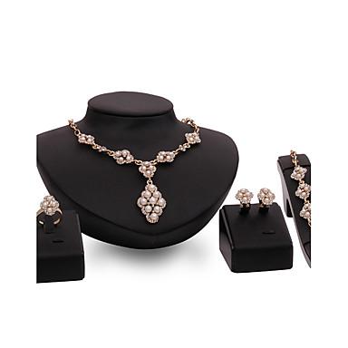 Mulheres Gema Imitação de Pérola Imitação de Pérola Strass Chapeado Dourado Conjunto de jóias Anéis 1 Colar 1 Par de Brincos 1 Bracelete -