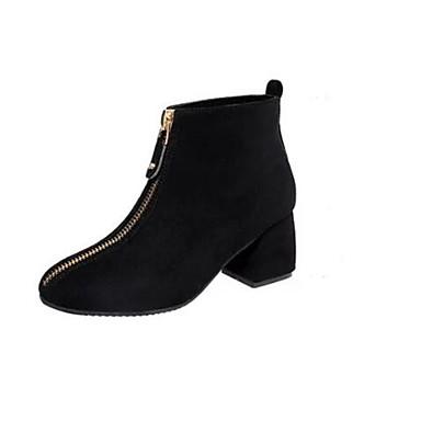 Naiset Bootsit Comfort Kevät PU Kausaliteetti Musta Armeijan vihreä Tasapohja