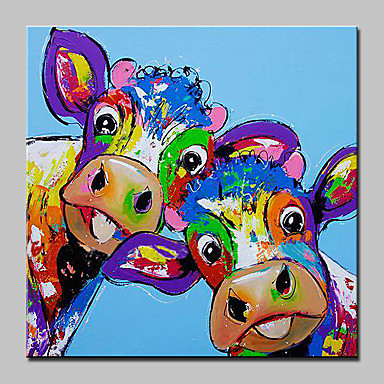 Oil Painting Hand Painted - Animals Abstract Modern / Contemporary Canvas