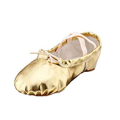 Pentru femei Pantofi de Balet Imitație Piele Josi Toc Drept NePersonalizabili Pantofi de dans Auriu / Argintiu / Rosu / Interior