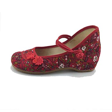 Mulheres Sapatos Tecido Primavera Outono Conforto Rasos Sem Salto Ponta Redonda Presilha Flor para Casual Social Preto Vermelho