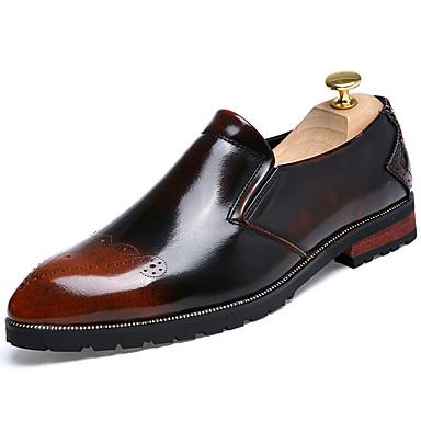 Homens sapatos Couro Ecológico Primavera Verão Conforto Mocassins e Slip-Ons Caminhada para Casual Preto Prata Vermelho Khaki
