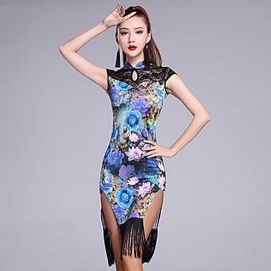Latein-Tanz Kleider Damen Eis-Seide Muster / Druck Quaste Ärmellos Normal Kleid Unterhose
