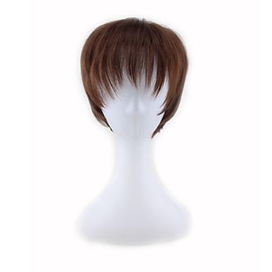 Syntetické paruky Volný Asymentrický střih Umělé vlasy Přírodní vlasová linie Hnědá Paruka Dámské Krátký Bez krytky
