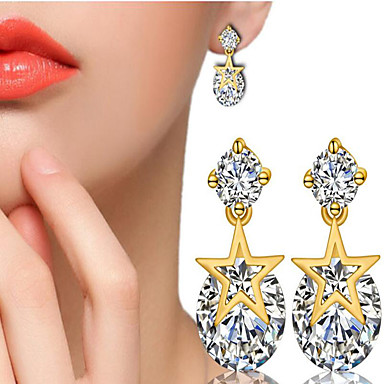 Mulheres Zircônia cúbica / Diamante sintético Brincos Curtos - Chapeado Dourado Estrela Fashion, Estilo bonito Branco / Amarelo e Dourado Para Presente / Diário / Casual