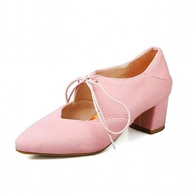 Mulheres Sapatos Sintético Primavera / Outono Conforto / Inovador Saltos Caminhada Salto Robusto Dedo Apontado Cadarço / Poa Preto /