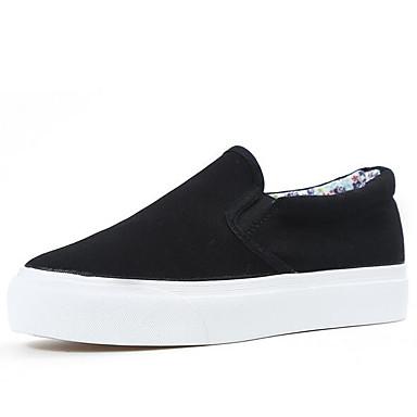 Damen Schuhe Leinwand Frühling Komfort Loafers & Slip-Ons Für Normal Weiß Schwarz
