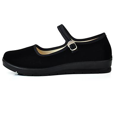 Mulheres Sapatos Tecido Primavera/Outono Conforto Rasos Salto Plataforma Ponta Redonda Presilha para Casual Escritório e Carreira Preto