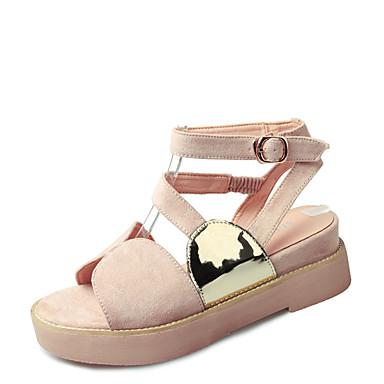 Damen Schuhe Vlies Sommer Creepers Sandalen Walking Creepers Runde Zehe Schnalle für Normal Kleid Schwarz Mandelfarben