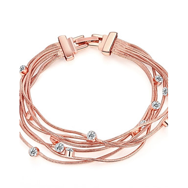 Women's AAA Cubic Zirconia Chain Bracelet / Wrap Bracelet - Zircon, Rose Gold Plated Friends Vintage, Bohemian, Natural Bracelet Rose Gold For Party / Special Occasion / Anniversary