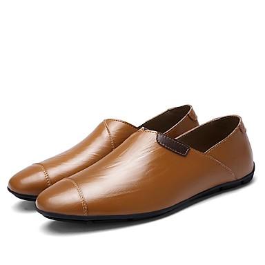 Herren Schuhe Leder Frühling Herbst Komfort Loafers & Slip-Ons Für Normal Schwarz Braun Blau