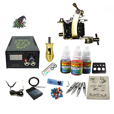 Tattoo Machine Starter Kit - 1 pcs Tattoo Machines with 1 x 5 ml tattoo inks, Professional LCD power supply Case Not Included 1 damascus