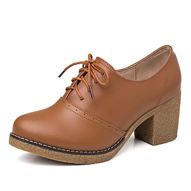 Damen Schuhe Leder Frühling Herbst Komfort Sneakers Blockabsatz Keilabsatz für Normal Schwarz Braun