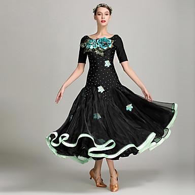 Für den Ballsaal Damen Leistung Elasthan Applikationen / Schleifen Kurze Ärmel Normal Kleid