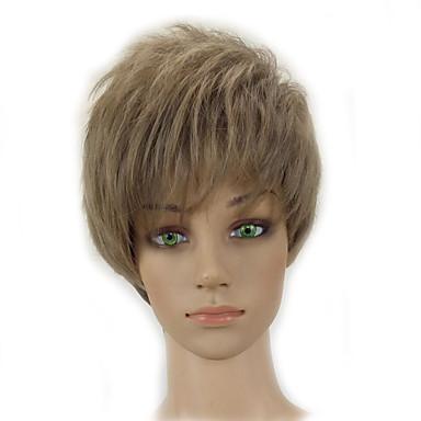 Synthetische Perücken Locken Stufenhaarschnitt Synthetische Haare Blond Perücke Damen Kurz Kappenlos