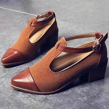 Damen Schuhe PU Frühling Komfort High Heels Für Normal Schwarz Braun