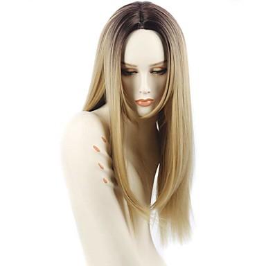 Ženy Dlouhý Jahodový blond Rovné Ombre vlasy Afroamerická paruka Pro černošky Umělé vlasy Bez krytky Přírodní paruka paruky