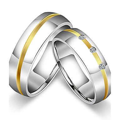 voordelige Herensieraden-Dames Voor Stel Ringen voor stelletjes Bandring Ring titanium Kubieke Zirkonia Titanium Staal Rond Klassiek Vintage Eenvoudige Stijl Bruiloft Feest Sieraden Prinsessa / Vuosipäivä / Verjaardag