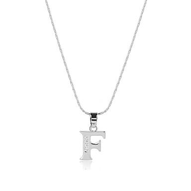 Herrn Damen Kubikzirkonia Zirkon Anhängerketten - Logo Stil Böhmische USA Erklärung Handgemacht Kräftegleichgewicht Alphabet Form Silber