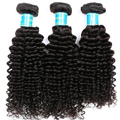 Brasilianisches Haar Kinky Curly Unbehandeltes Haar Menschenhaar spinnt 3 Bündel 8-14 Zoll Menschliches Haar Webarten Natürlich Schwarz Haarverlängerungen / Kinky-Curly