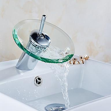 Kylpyhuone Sink hana - Vesiputous Kromi Integroitu Yksi kahva yksi reikä / Messinki